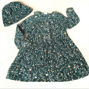 Hanna Andersson Dress & Hat Green Corduroy-110